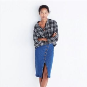 Madewell Blue Terrace Lace-up Shirt In Owens Plaid